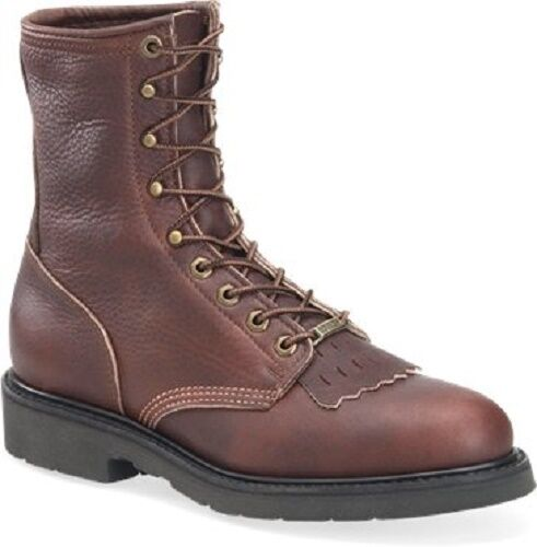 Mens Double H BROWN Black Walnut Leather 8  Tall Work Boots Riding Lacers USA