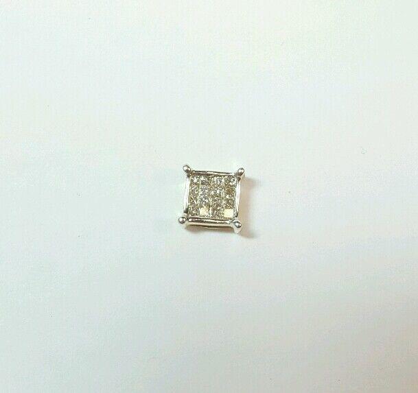 .16 CARAT DIAMOND 14K YELLOW gold SINGLE STUD EARRING SQUARE PRINCESS STYLE