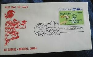 PHILIPPINES 1976 FDC cover Olympic Games Montreal Olympics OVERPRINT Pilipinas