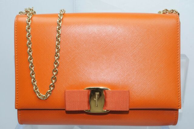 0008a658b New Salvatore Ferragamo Miss Vara Bag Clutch Orange Crossbody Sale Gift