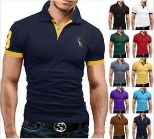 Fashion-Men-039-s-Slim-Fit-Shirts-Short-Sleeve-Casual-Gol-T-Shirt-Tops-Tee