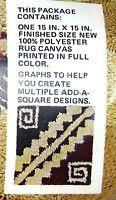 Vintage Latch Hook Pillow Kit Aztec Brown Geometric 1970's 15 X 15