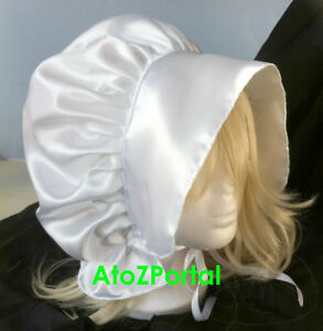 Green Satin Victorian Edwardian Adult Sissy Baby Fancy Dress Bonnet Cap Hat