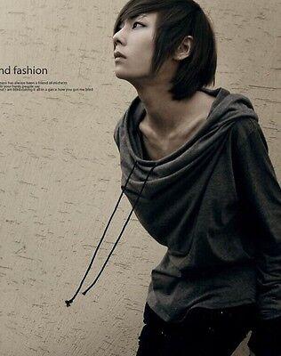 New Fashion Mens Slim Fit Cotton Hooded Color Stitching Long Sleeve Club T-shirt