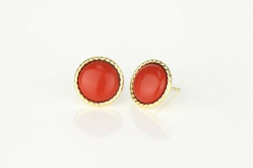 14K Yellow or White Gold Flat Coral Stud Earrings