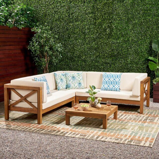 Sectional Sofa Set 4 Piece Acacia Wood