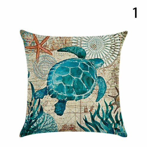 Marine Life Cushion Cover Turtle Hippocampus Whale Octopus Pattern Pillow S O2A1