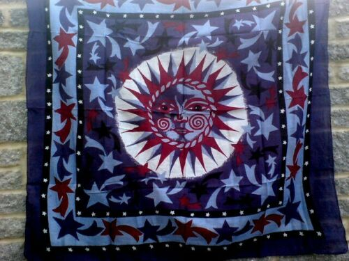 INDIAN 100/%COTTON BLUE,RED/&WHITE SCARF WITH SUN /& STARS MOTIF40cmX40cm £4.50 nwt