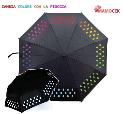 OMBRELLO goccioline CAMBIA COLORE con pioggia Automatico Pieghevole Raggio cm54