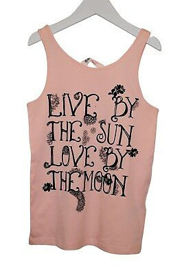 Other Logical Girls Ex H&m Vest Tank Top Live By Print Light Pink Size Age 8 To 15 Years C06.5