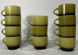Vintage-Fire-King-Anchor-Hocking-Set-of-11-Green-Black-Stacking-Coffee-Mugs-Cups