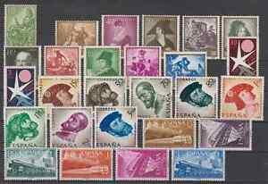 SPAIN-ANO-1958-NUEVO-MNH-ESPANA-EDIFIL-1209-1237-SIN-FIJASELLOS-SIN-HOJITAS