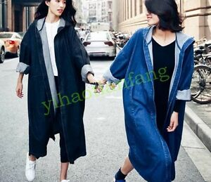 New-Womens-Long-Denim-Jeans-Jackets-Hooded-Cardigan-Loose-Baggy-Parka-Coat-Vogue