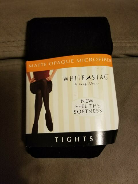 0ee63574eed White Stag Matte Opaque Microfiber Size 3 Tights 155-214 lbs Black Nylon  Blend