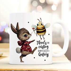 Intellektuell Tasse Becher Hase & Biene Spruch Thanks For Existing Teetasse Geschenk Ts927 Ausreichende Versorgung Baby