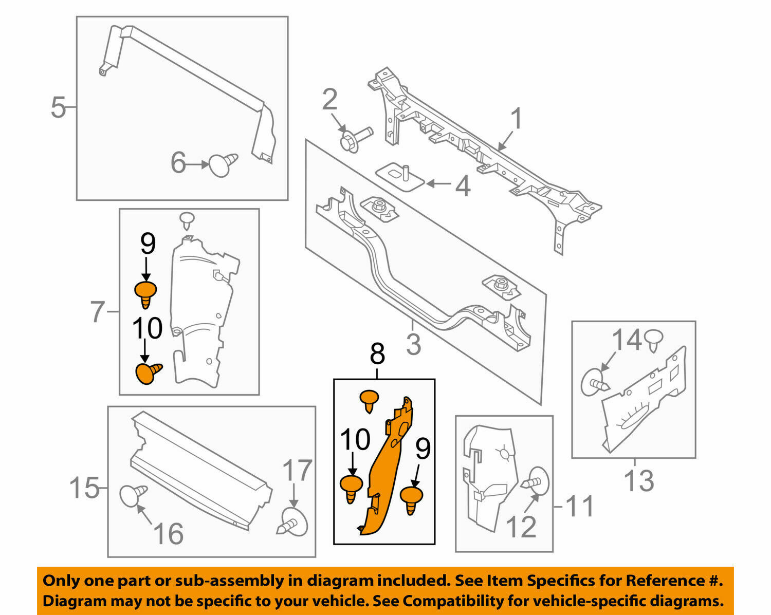 FORD OEM Radiator Support-Side Air Baffle Duct Deflector Left BC3Z8311A