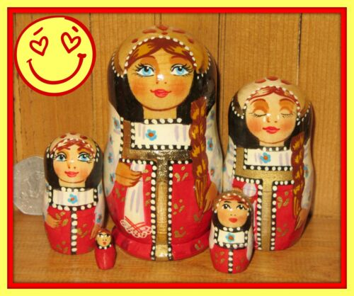Russian HAND PAINTED nesting dolls small RED BLACK lovely MATRYOSHKA 5 Best GIFT