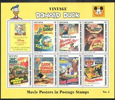 Guyana 1996 Donald Duck Movie Posters/Disney/Baseball/Sports/Lion/Bees sht s5764