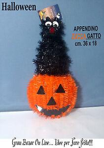 Zucca Halloween Gatto.Dettagli Su Halloween Zucca Gatto Decorazione Maxi Dj Party Cm 36 X 18 Festa Horror