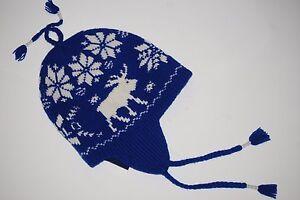 1c39b3b65c7 POLO Ralph Lauren Blue Moose Ski Cap   Beanie   Ear Flaps Shetland ...