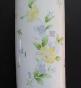 Vintage-1993-FTD-Porcelain-Pastel-Floral-Bud-Vase-Made-In-Japan-6-5-034-Tall-Oval