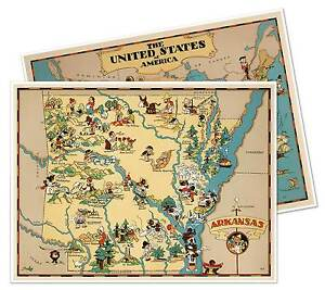 Arkansas On Usa Map.Two 2 Map Set Arkansas Usa By Ruth Taylor White Circa 1933 18 X