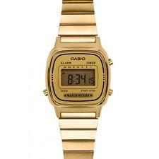 Reloj Pulsera Casio Damas Retro Estilo Cara De Oro Alarma Digital LA670WGA-9DF