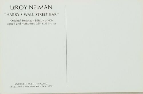 LeROY NEIMAN Post Card HARRY/'S WALL STREET BAR