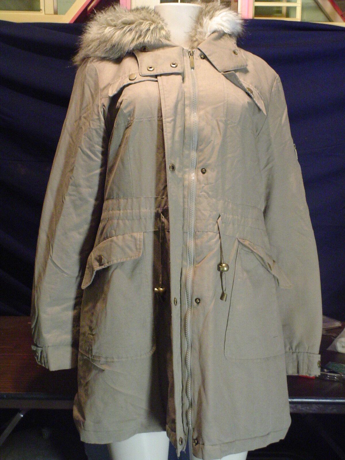 Misses LBD Laundry Size L Tan Faux Fur hooded Lined long Zip Up Coat EUC