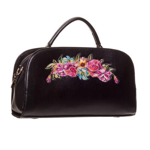 50 Uk À Années Rose tout Main Sac Rockabilly Kitsch Florale Vintage Fourre Noir TgdwqY77c