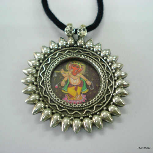 Traditional Design Sterling Silver Necklace Painting Pendant Ethnic jewellery