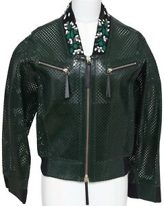 MARNI-Jacket-Patent-Leather-Perforated-Emerald-Green-Bomber-Coat-Floral-Sz-38-BN