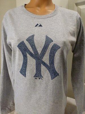 7300 WOMENS Majestic NEW YORK YANKEES Baseball LONG SLEEVE Jersey Shirt Gray
