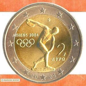 Spécial Pièces Grèce 2 Euro Pièce De Monnaie 2004 Olympia Athènes