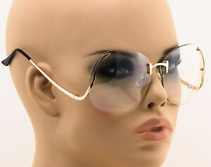 cbd09f8ffb9 Image is loading OVERSIZED-Rimless-VINTAGE-Style-Clear-Lens -SUNGLASSES-Upside-