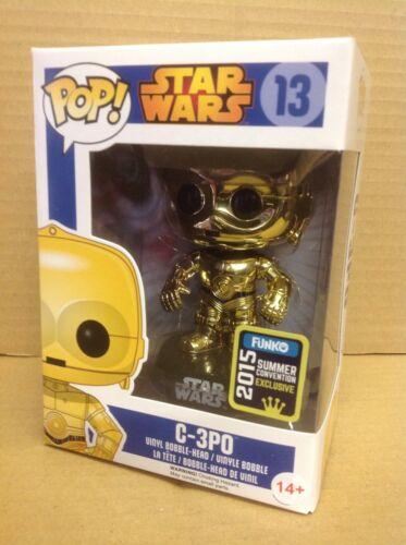 Funko Pop STAR WARS c-3po oro cromato #13 SDCC Esclusivo Figura in vinile NUOVO RARO