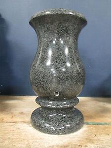Dark Gray Granite Cemetery Monument Vase Grave Headstone