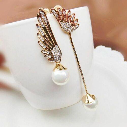 Women Elegant Wings Rhinestone Ear Stud Gold Dangle Earrings Jewelry werg 1 Pair