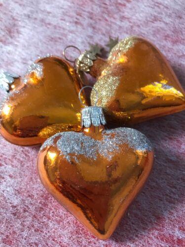 Christbaumschmuck 3x Herzen aus Glas,Aufhänger,Handarbeit,Dekoration,Baumschmuck