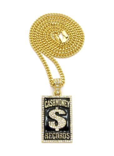 """ICED OUT CASH MONEY RECORD MICRO PENDANT 24/""""VARIOUS CHAIN HIP HOP NECKLACE XZ177"""