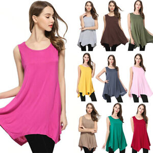 Womens-Summer-Sleeveless-Tunic-Tops-Loose-Swing-Tank-Top-Solid-T-Shirt-Blouse-US
