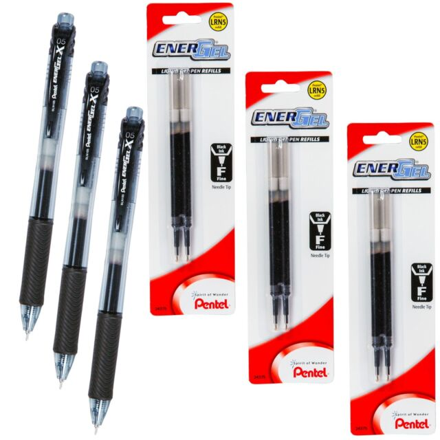 3 x LRN4 Refills for Pentel EnerGel Ener Gel 0.4mm Rollerball Pen Blue