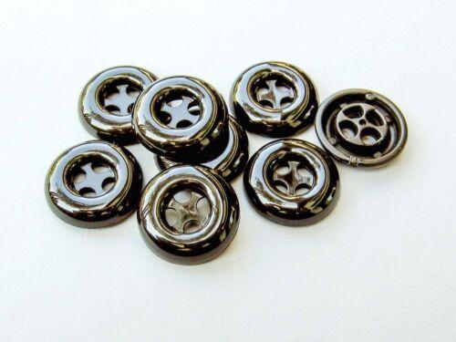1065sc-23mm 10 belles noire manteau boutons en plastique