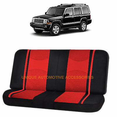 RED/BLACK POLY MESH NET 2PC SPLIT BENCH SEAT COVER for JEEP COMPASS CHEROKEE