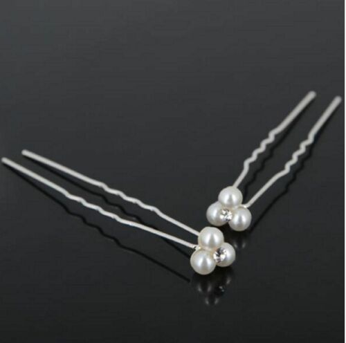 6 12 Stück Haarnadeln Strass Perlen Haarschmuck Braut Hochzeit Kommunion Taufe