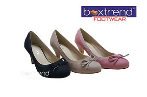 NEW-WOMENS-LADIES-WEDDING-PARTY-SMART-ROUND-TOE-BOW-SLIM-HEEL-SUEDE-COURT-SHOES