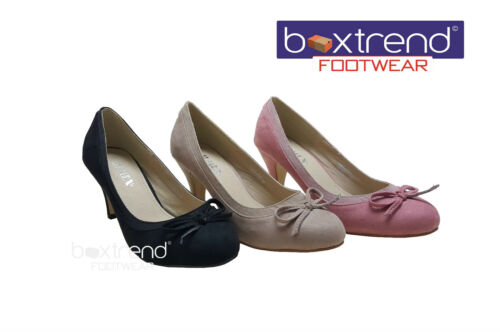 NEW WOMENS LADIES WEDDING PARTY SMART ROUND TOE BOW SLIM HEEL SUEDE COURT SHOES