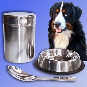 3tlg. ALIMENTI per animali Set, acciaio inox ciotola scorta BARATTOLO CUCCHIAIO, cani gatti bicchiere  </span>