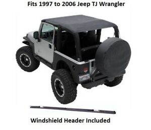 Bikini Top Jeep >> Details About Jeep Extended Bikini Top With Windshield Header For 97 06 Jeep Tj Wrangler