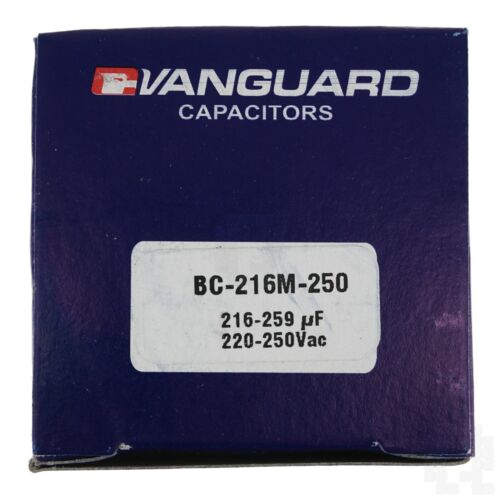 Vanguard BC-216M-250 Electric Motor Start Capacitor 216-259 µF 220-250VAC